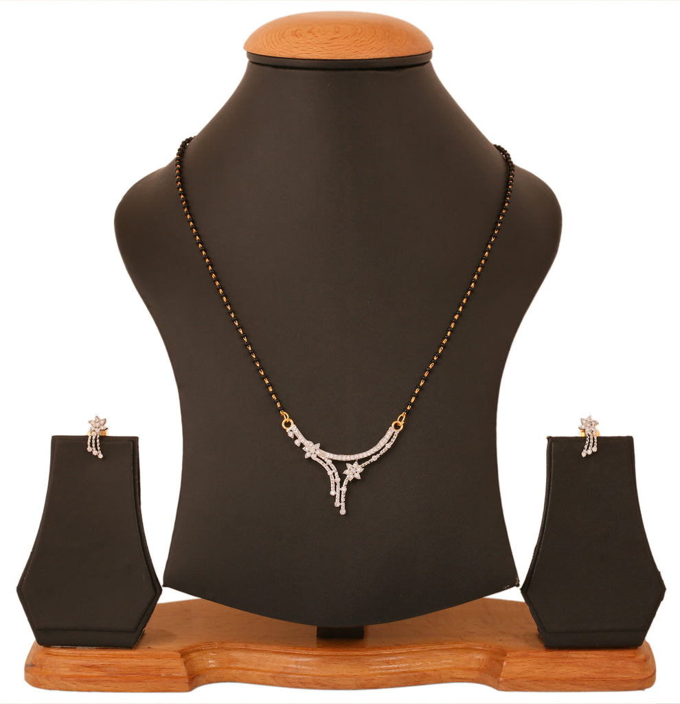 Gold & Rhodium Plated CZ Contemporary Mangalsutra Set By Touchstone- BBPSGC26-01A--M