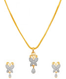 Finely Created Butterfly White CZs Pendant Set In Silver An Gold Tones-BBPSGC55-01A--M