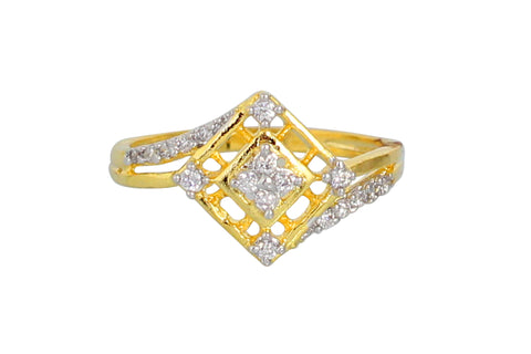 Touchstone Gold Plated Austrian Diamond Ring- BBR--153-03A--M