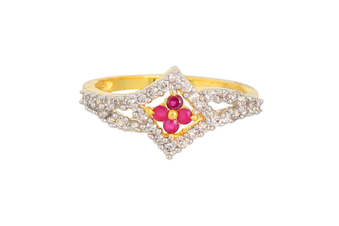 Touchstone Gold Plated Pink Austrian Diamond Ring- BBR--162-02AR-M