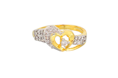 Touchstone Eye Catching Gold Plated Austrian Diamond Ring- BBR--163-01A--M