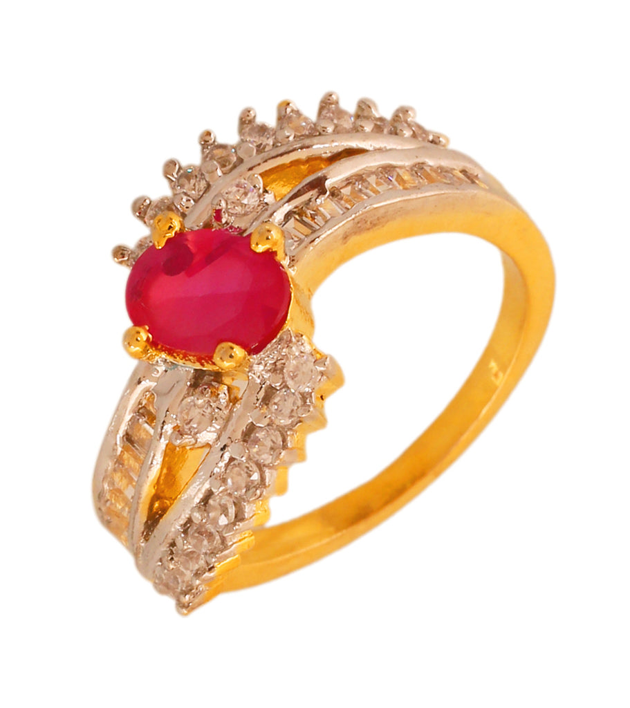 Touchstone Designer Ruby Cz Gold & Rhodium Plated Finger Ring- BBR--195-02AR-M