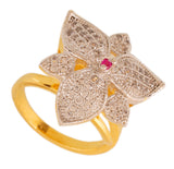 Touchstone Stylish Floral Cz Gold & Rhodium Plated Finger Ring- BBR--196-01AR-M