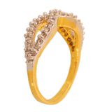 Touchstone Fancy Cz Gold & Rhodium Plated Finger Ring- BBR--198-01A--M
