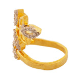 Touchstone Eye-Catchy Leaf Style Cz Gold & Rhodium Plated Finger Ring- BBR--199-01A--M