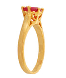 Touchstone Splendid Ruby Cz Gold Plated Finger Ring- BBR--202-01R--Y