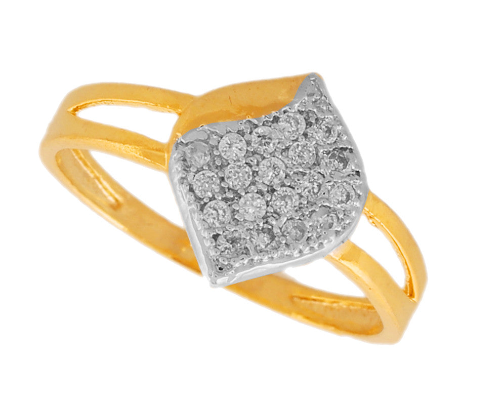 Touchstone Modish Cz Gold & Rhodium Plated Finger Ring- BBR--203-01A--M