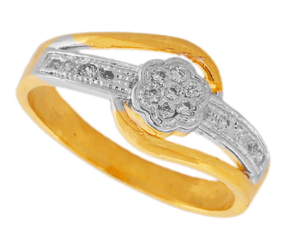 Touchstone Sparkle Cz Gold & Rhodium Plated Finger Ring- BBR--205-01A--M