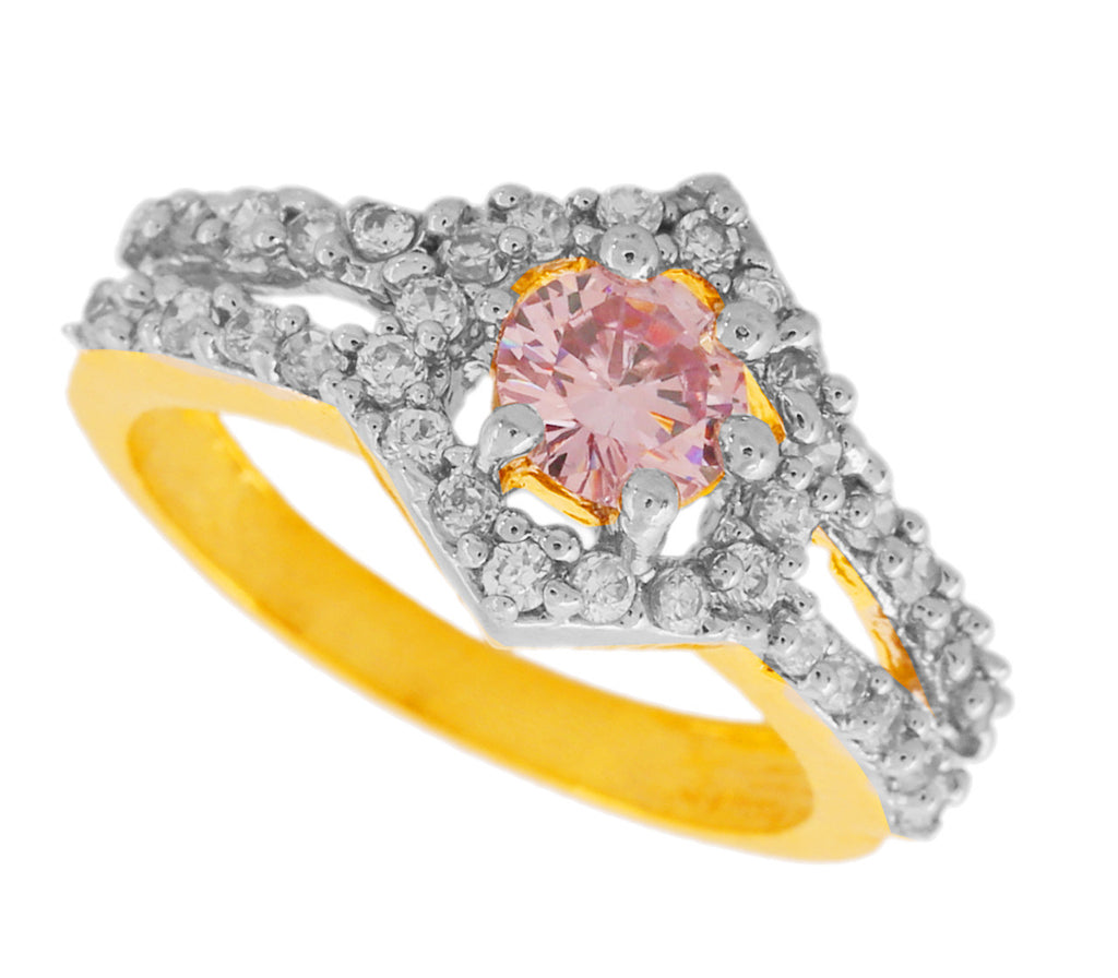 Touchstone Surprise Delight Cz Gold & Rhodium Plated Finger Ring- BBR--211-01A--M