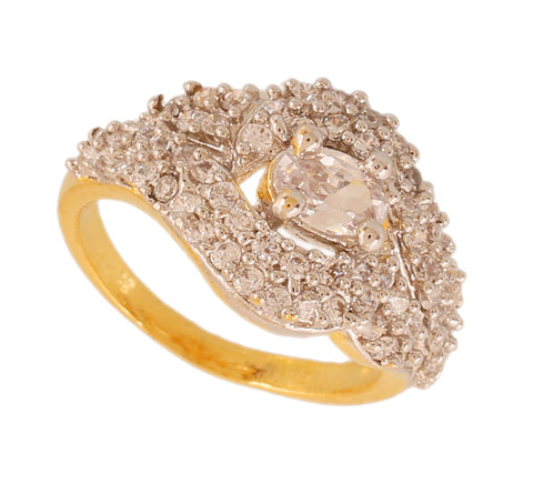 Touchstone Adorable Cz Gold & Rhodium Plated Finger Ring- BBR--212-01A--M
