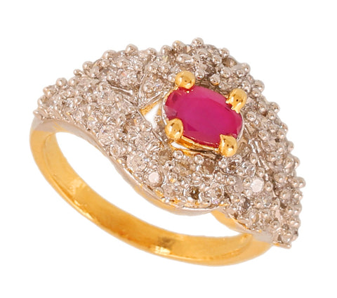 Touchstone Adorable Ruby Cz Gold & Rhodium Plated Finger Ring- BBR--212-03AR-M