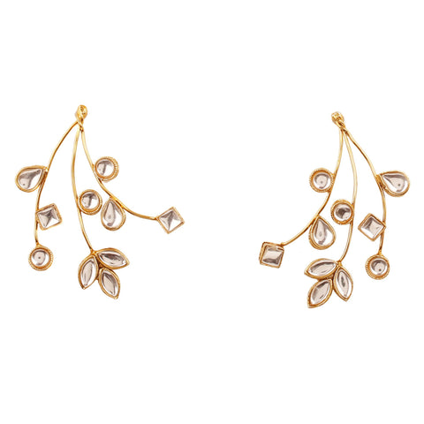 Touchstone Dramatic Designer  Tree and Branches Inspired Earrings in Fine Multiple Twisted Wires Embellished with Flat Cut Stones in Antique Gold Tone for Women
