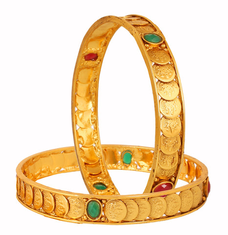Touchstone Gold Plated Lakshmi Coin Traditional Bangle- DGB--182D01RE-Y