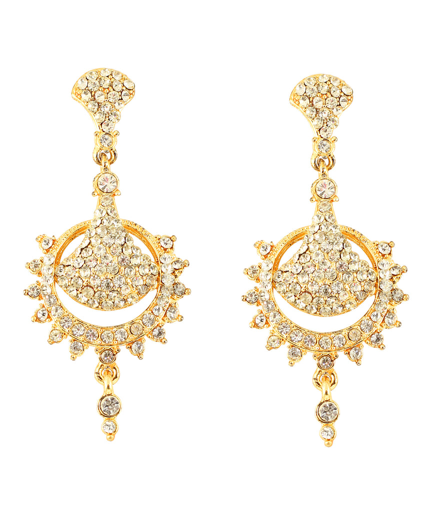 Touchstone Alloy Metal Gold Plated Traditional And Pretty Look Long Earrings- DGET-297-01A--G
