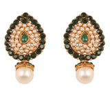 NEW! Touchstone Indian Bollywood Desire Traditional Style Faceted Faux Emerald Pearls Grand Look Designer Jewelry Earrings In Antique Gold Tone For Women.