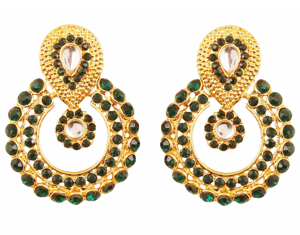 Round Bali Shape Kundan Faux Black Onyx Earrings In Antique Gold Tone-DGET-500-13KE-G