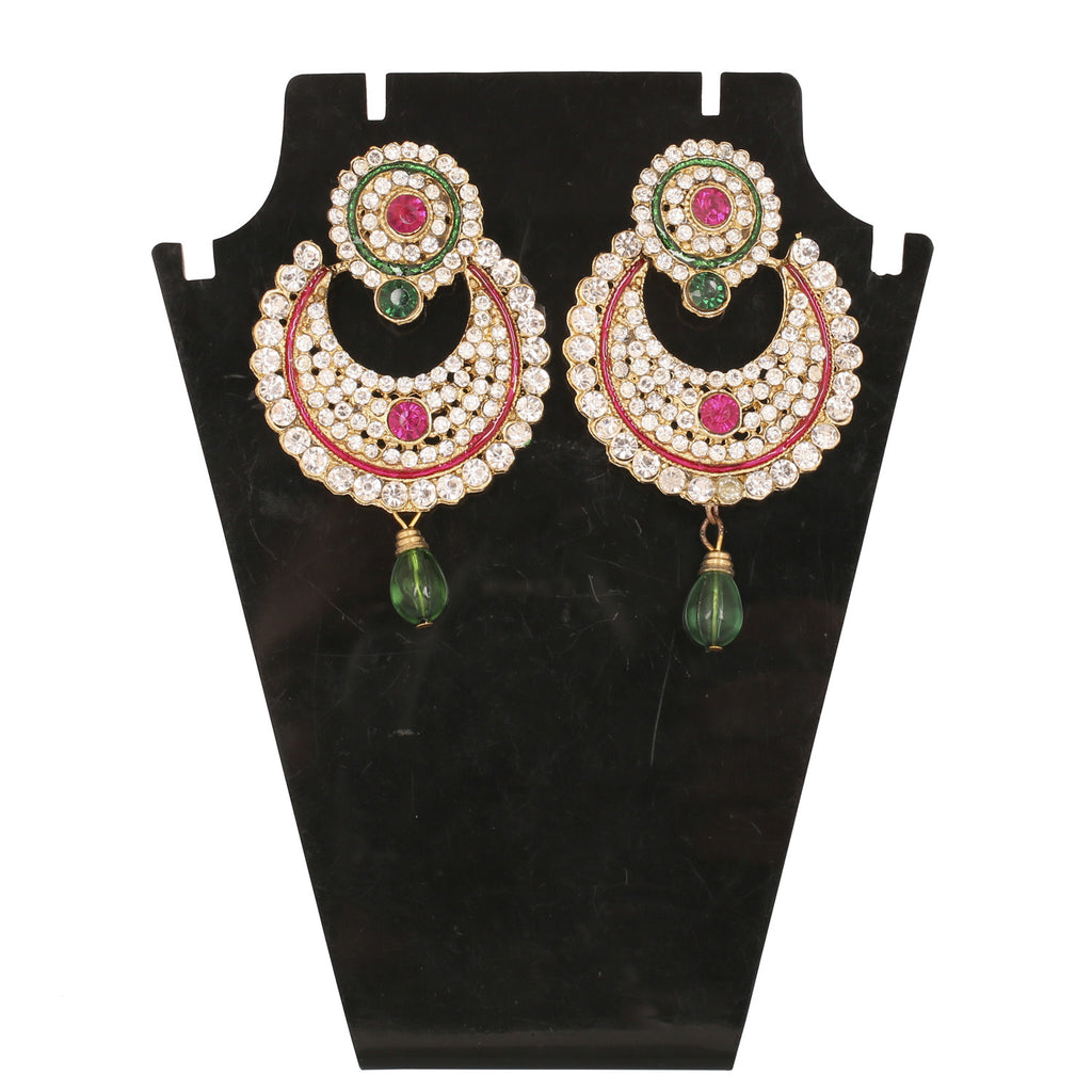 71d3757ef02 Ethnic Collection. Touchstone Antique Gold Plated Traditional Half Moon Style  Long Earrings- ...