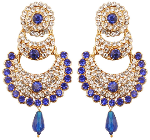 White Blue Designer Chand Bali Moon Earrings In Antique Gold Tone-DGET-506-07AW-G