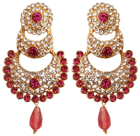 White Red Faux Ruby Chand Bali Earrings For Women In Antique Gold Tone-DGET-506-08AZ-G