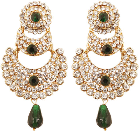 White Faux Emerald Chand Bali Earrings For Women In Antique Gold Tone-DGET-506-09AE-G