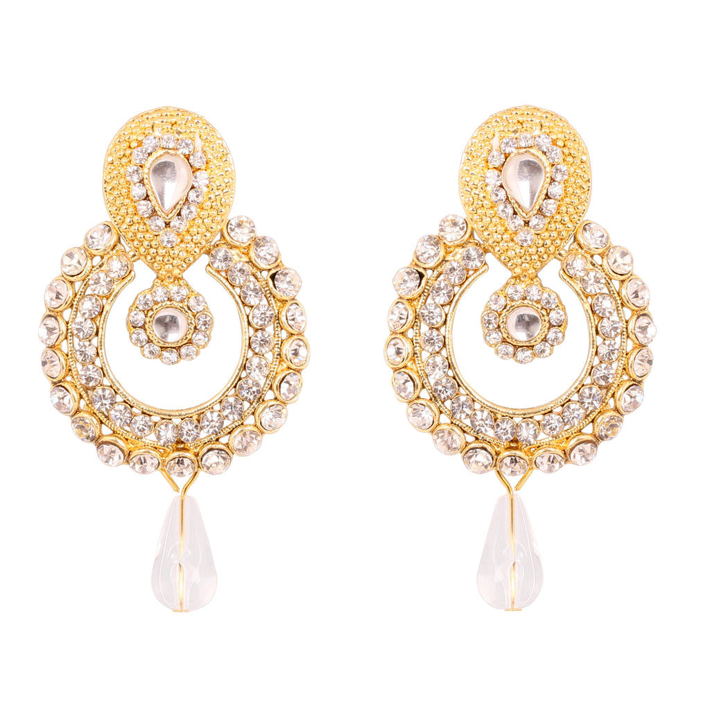 Touchstone Gold Plated Moon Style Long Earrings- DGET-507-01AK-G