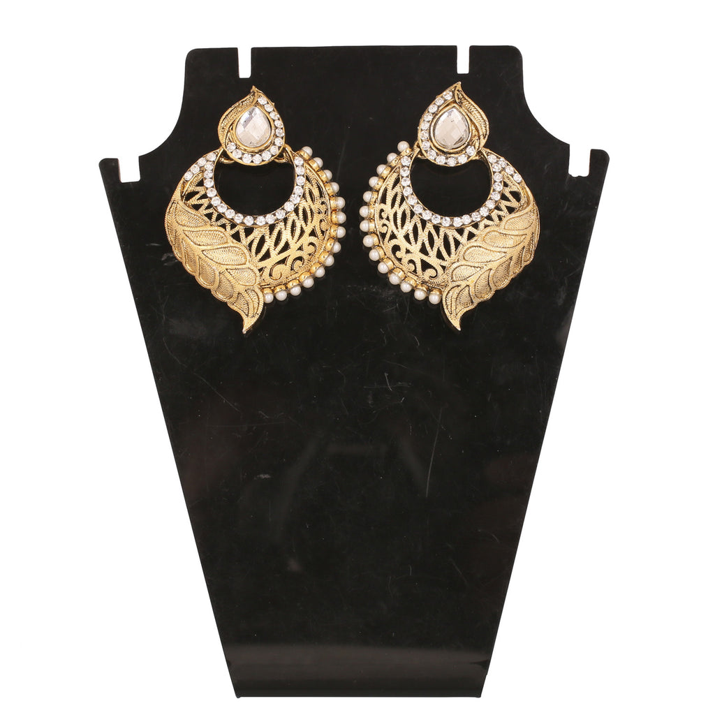 Touchstone Antique Gold Plated Artistic Earrings- DGET-519-01AP-G