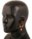 Touchstone Antique Gold Plated Traditional Earrings- DGET-523-08R--G