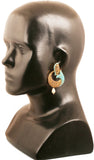 Curved Fish Motif Faux Turquoise Pearls Earrings in Antique Gold Tone -DGET-524-09T--G