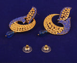 Curved Fish Motif White Blue Sapphire Earrings in Antique Gold Tone -DGET-524-10W--G