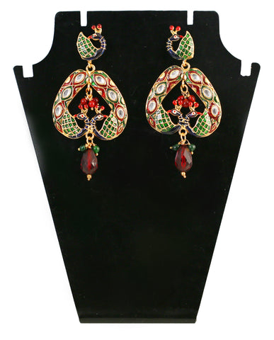 Touchstone Red & Green Crystal Hanging Earrings- DGETE086-01K--G