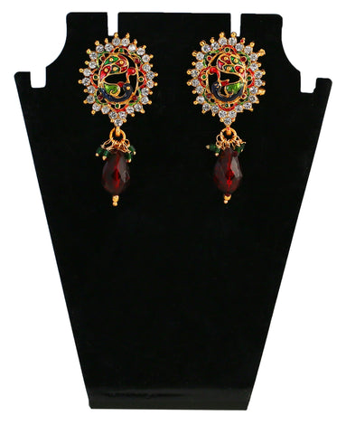 Touchstone Maroon & Golden Drop Earrings- DGETE087-01K--Y