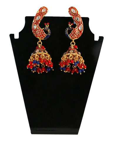 Touchstone Red & Golden Drop Earrings- DGETE115-01A--G
