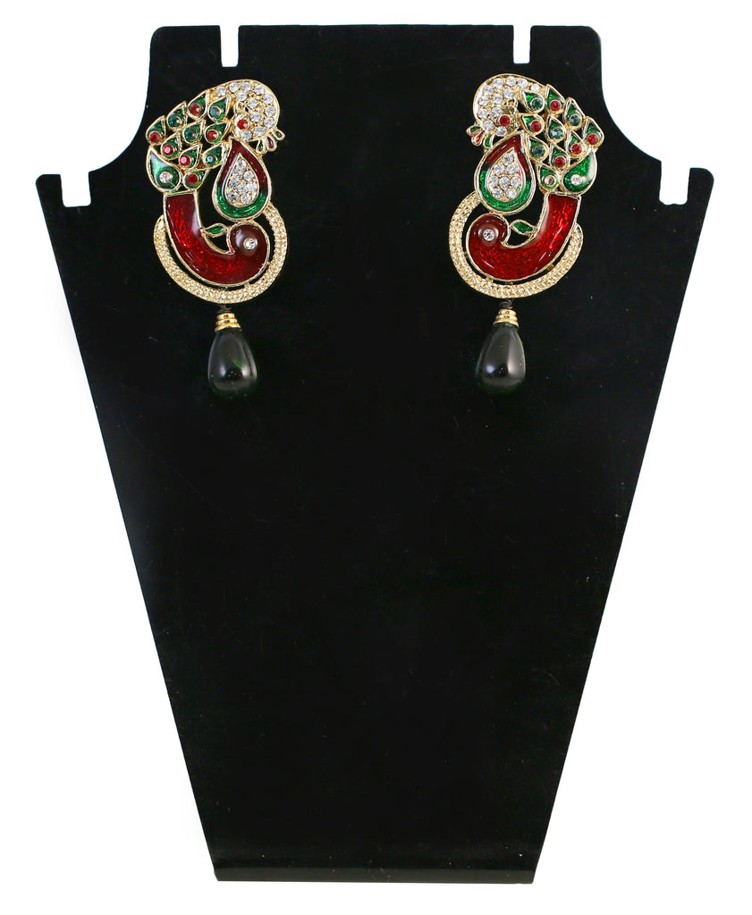 fd60066e15b Touchstone Green   Red Crystal Drop Earrings- DGETE116-01AREG ...