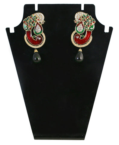 Touchstone Green & Red Crystal Drop Earrings- DGETE116-01AREG