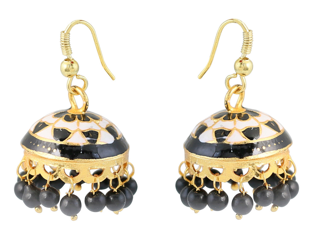 Touchstone Beguile Style Diva Jhumkis- DGETE139-02---Y