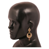 Touchstone antique gold plated pear shape earrings- DGETE159-01A--G