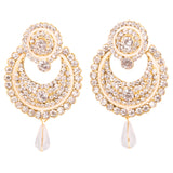 Touchstone  gold plated AD long earrings- DGETE161-01A--G