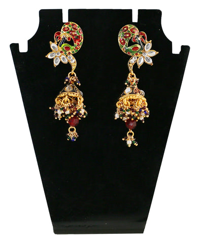 Touchstone Stunning Golden & Maroon Drop Earrings- DGETJ097-01K--Y