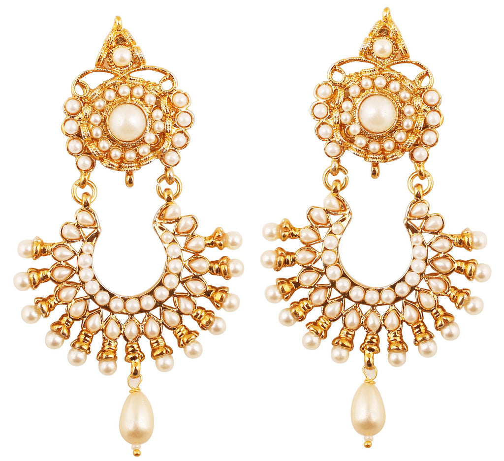 Exclusive Indian Faux Pearls Red Ruby Earrings In Antique Gold Tone-DGETJ237-02P--G