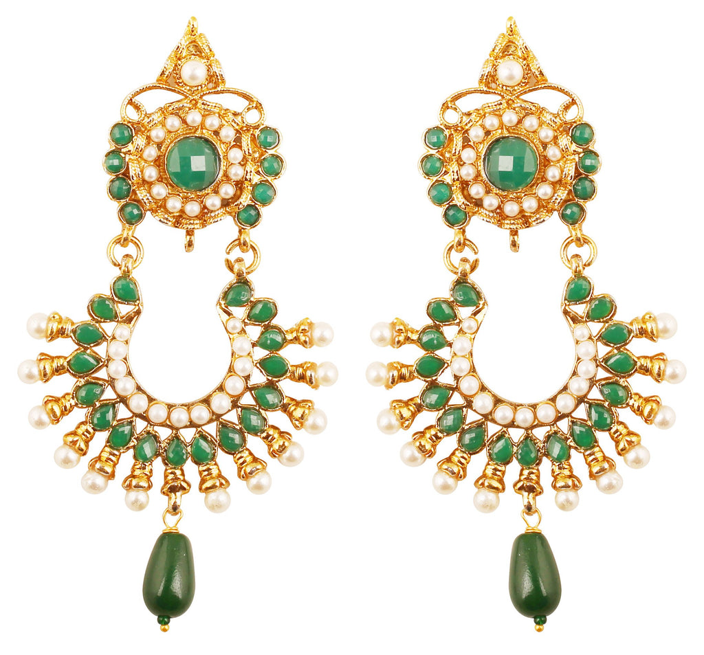 Exotic Indian Faux Pearls Green Emerald Earrings In Antique Gold Tone-DGETJ237-03PE-G