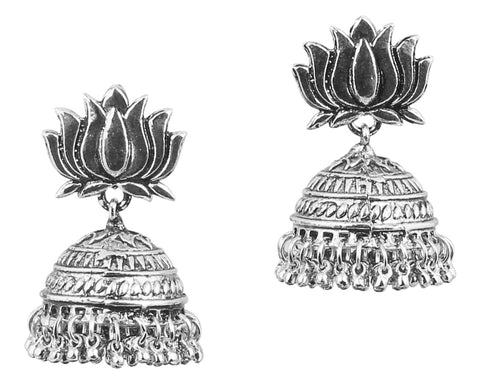 Touchstone Indian Bollywood lotus flower inspired, Victorian look, beautifully hung with bunches of ghungroo designer jewelry jhumki earrings for women in oxidised  silver tone