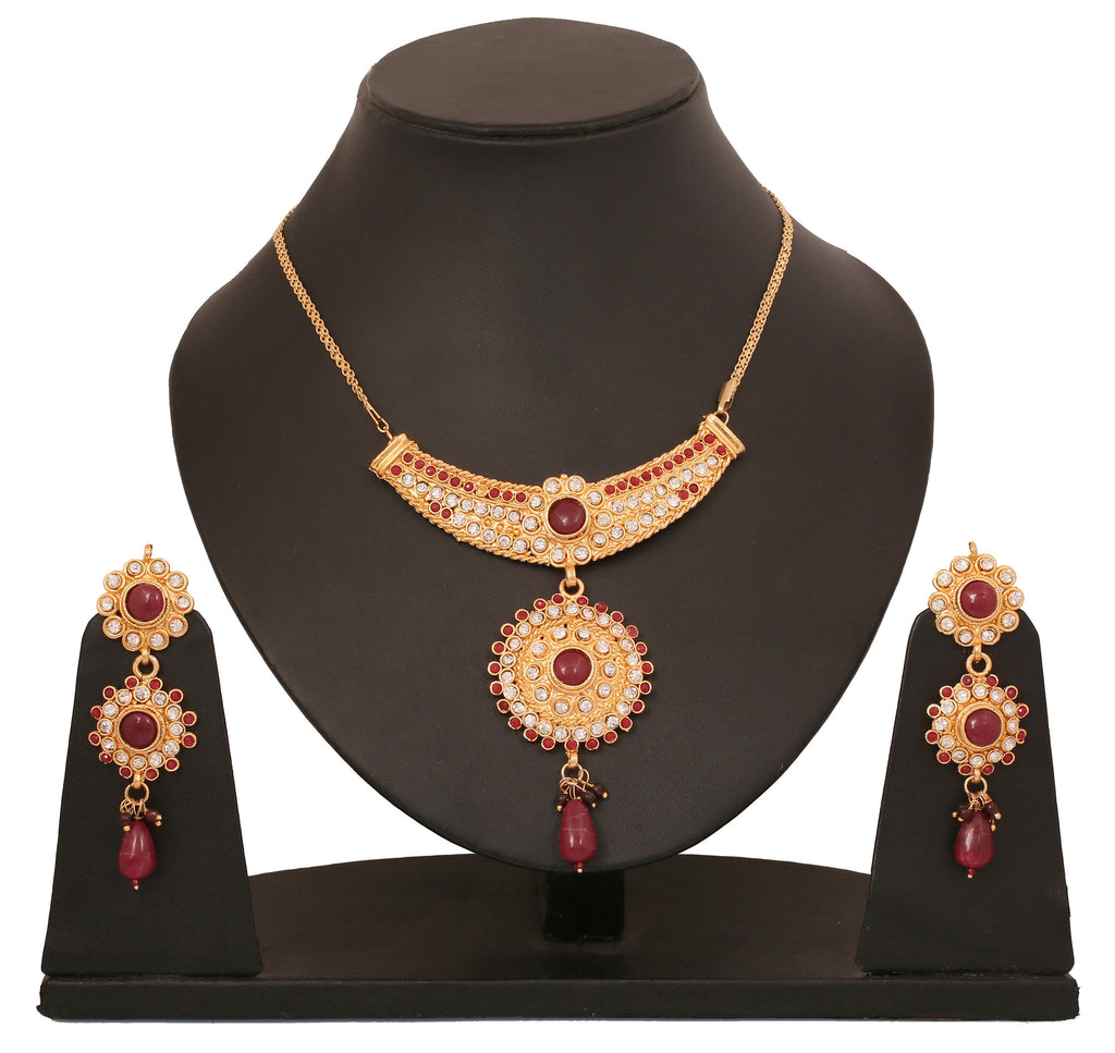 Touchstone Ad Golden Radial Necklace Set- DGNS-266-01AR-Y