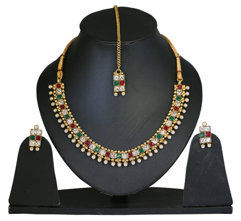 Touchstone Regal Antique Necklace Set With Maang Tika- DGNS-306-01X--Y
