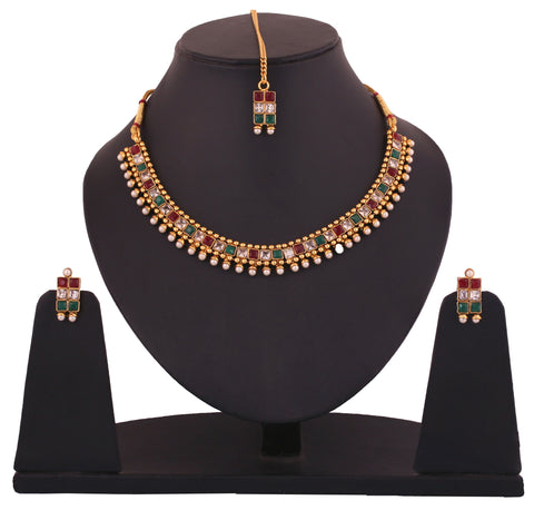 Touchstone Alloy Jewel Set Multicolor- DGNS-316-02AREG