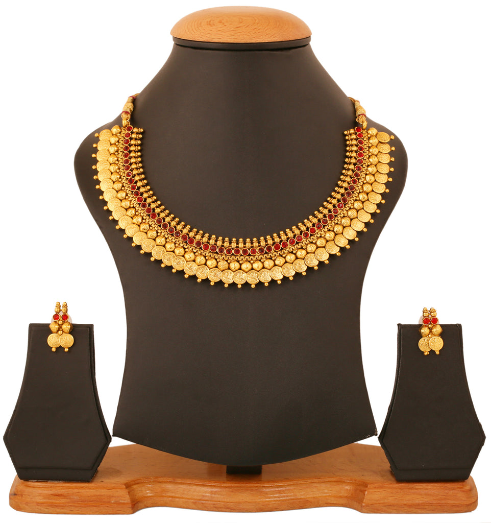 Touchstone Gold Plated Traditional & Exclusive Lakshmi Coin Necklace Set- DGNS-403-01R--G