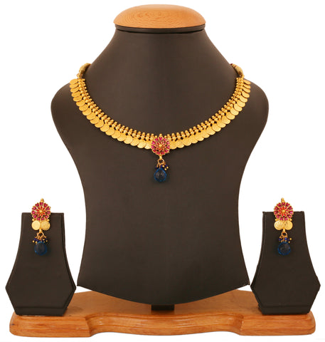 Touchstone Gold Plated Floral Lakshmi Coin Necklace Set- DGNSE107-01---G