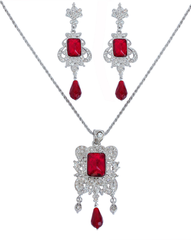 Rhodium Plated Pendant Set By Touchstone- DGPS-488-03AR-W