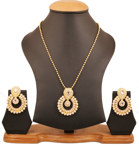 Touchstone Indian Bollywood elite Mughal Kundan polki look Chandbali Moon faux pearls bridal designer jewelry pendant  set for women in gold tone