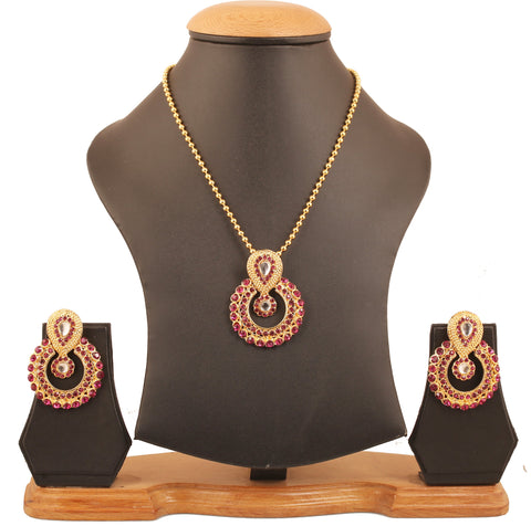 Elite Mughal Kundan Look Faux Pink  Chandbali Moon Pendant In Gold Tone-DGPS-570-03KZ-Y