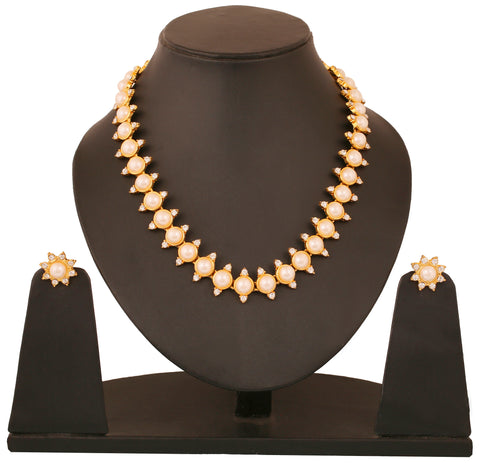 Touchstone Gold Plated Attractive Necklace Set- FGNSA003-01AP-Y
